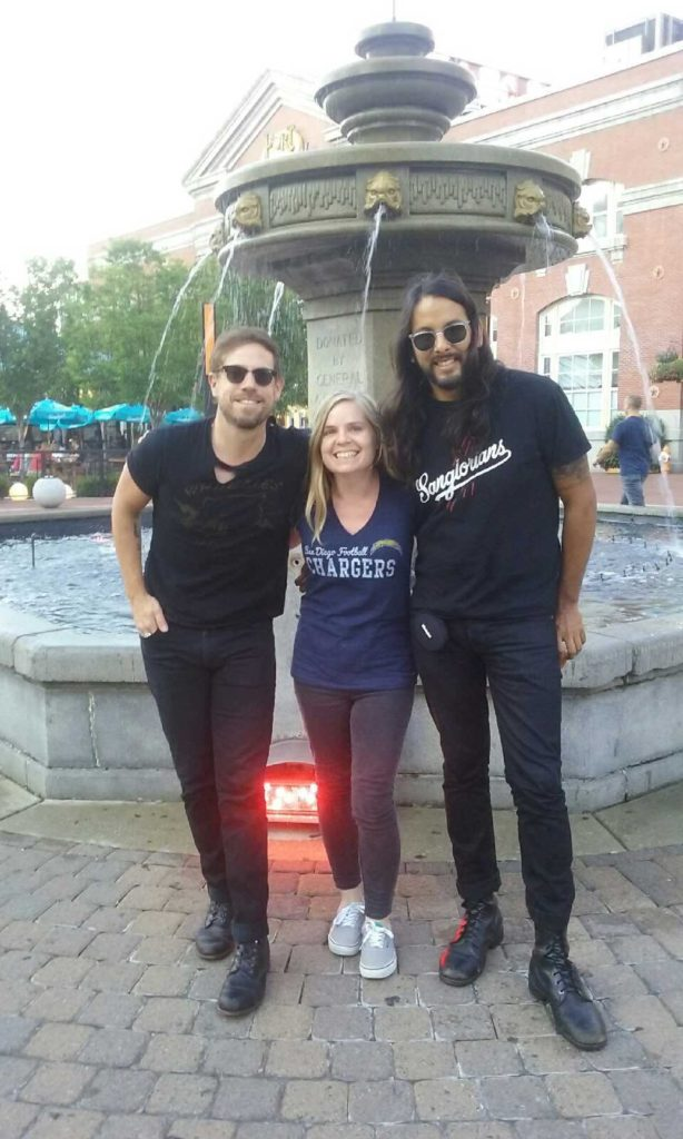 Kate with Mikel and Adrian of The Airborne Toxic Event