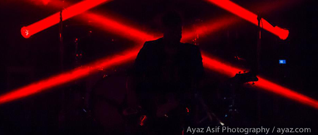 The Airborne Toxic Event: at home in the dark. Photo by Ayaz Asif Photography, Boston 2014.